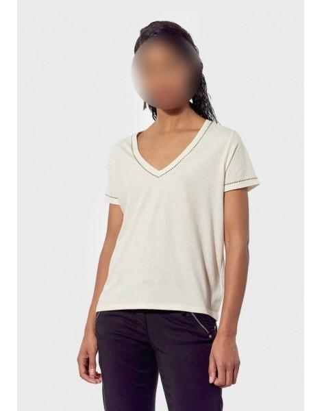 KAPORAL T-SHIRT REGULAR FEMME POLET off white